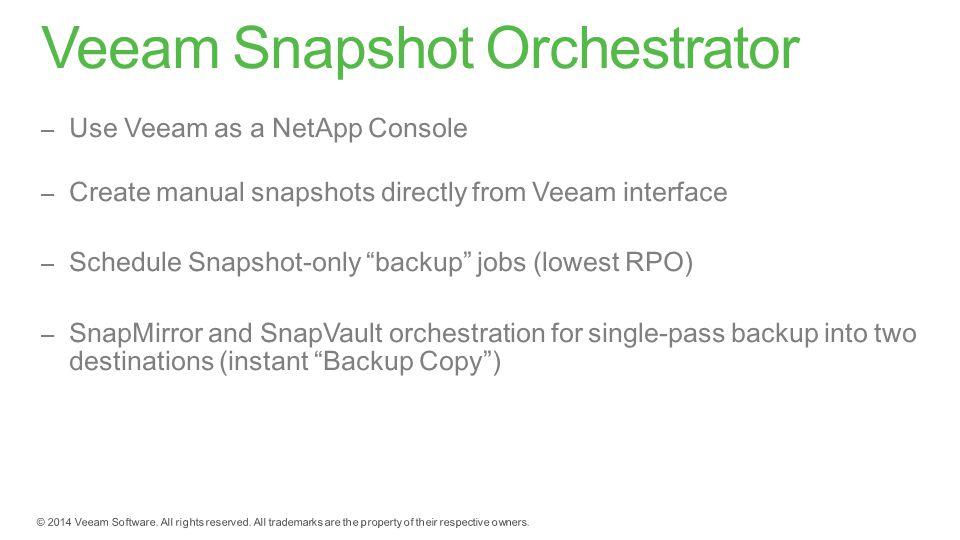 Veeam Snapshot Orchestrator