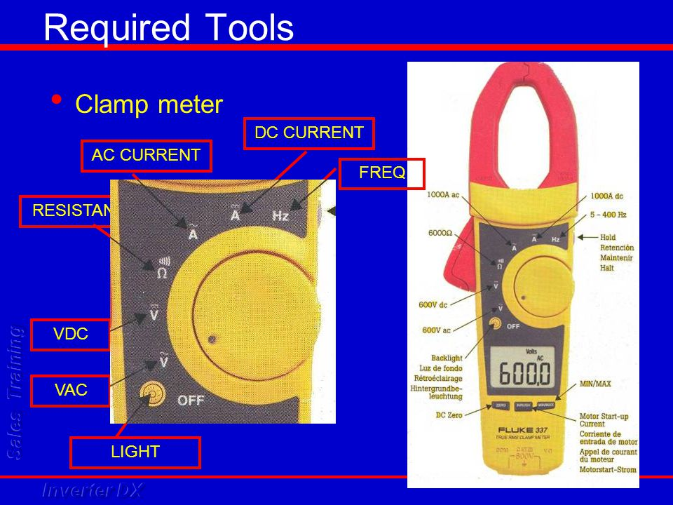 Required Tools Clamp meter AC CURRENT DC CURRENT FREQ RESISTANCE VDC VAC LIGHT
