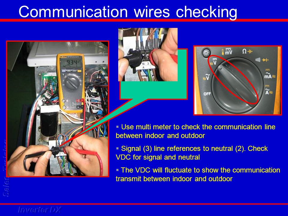  Use multi meter to check the communication line between indoor and outdoor  Signal (3) line references to neutral (2). Check VDC for signal and neu