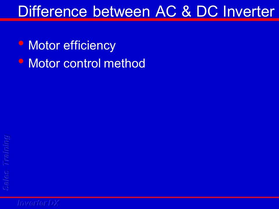 Difference between AC & DC Inverter Motor efficiency Motor control method