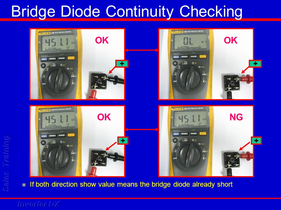 ++ ++ NG If both direction show value means the bridge diode already short Bridge Diode Continuity Checking