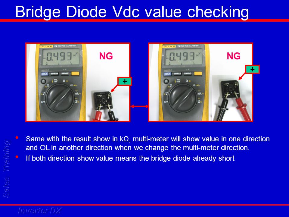 NG + + Same with the result show in kΩ, multi-meter will show value in one direction and OL in another direction when we change the multi-meter direct