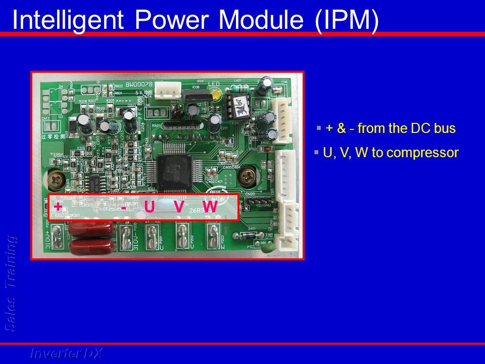 + - U V W  + & - from the DC bus  U, V, W to compressor Intelligent Power Module (IPM)