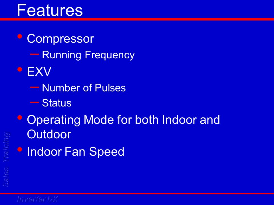 Features Compressor – Running Frequency EXV – Number of Pulses – Status Operating Mode for both Indoor and Outdoor Indoor Fan Speed