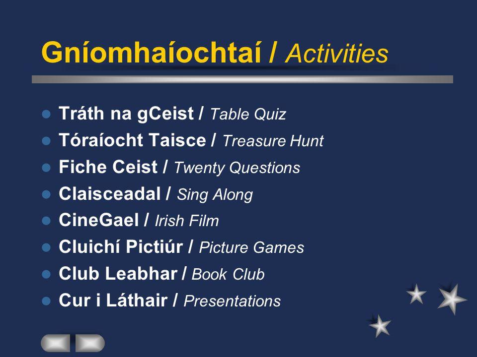 Cruinnithe / Meetings Láthair / Location Cathain / When Ábhar / Subject Maoiniú / Finance