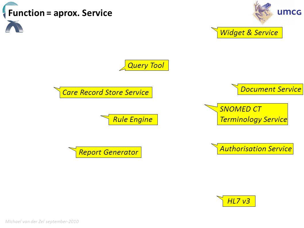 Michael van der Zel september-201012 Function = aprox. Service Rule Engine Care Record Store Service SNOMED CT Terminology Service Authorisation Servi