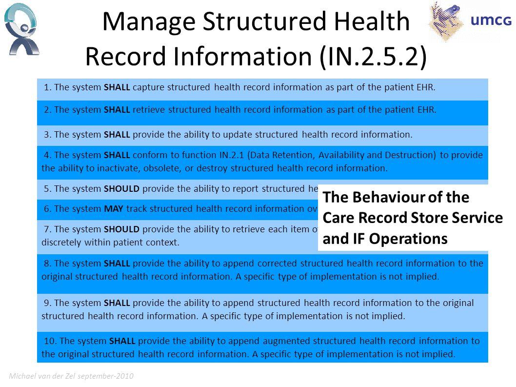 Michael van der Zel september-201013 Manage Structured Health Record Information (IN.2.5.2) 1.