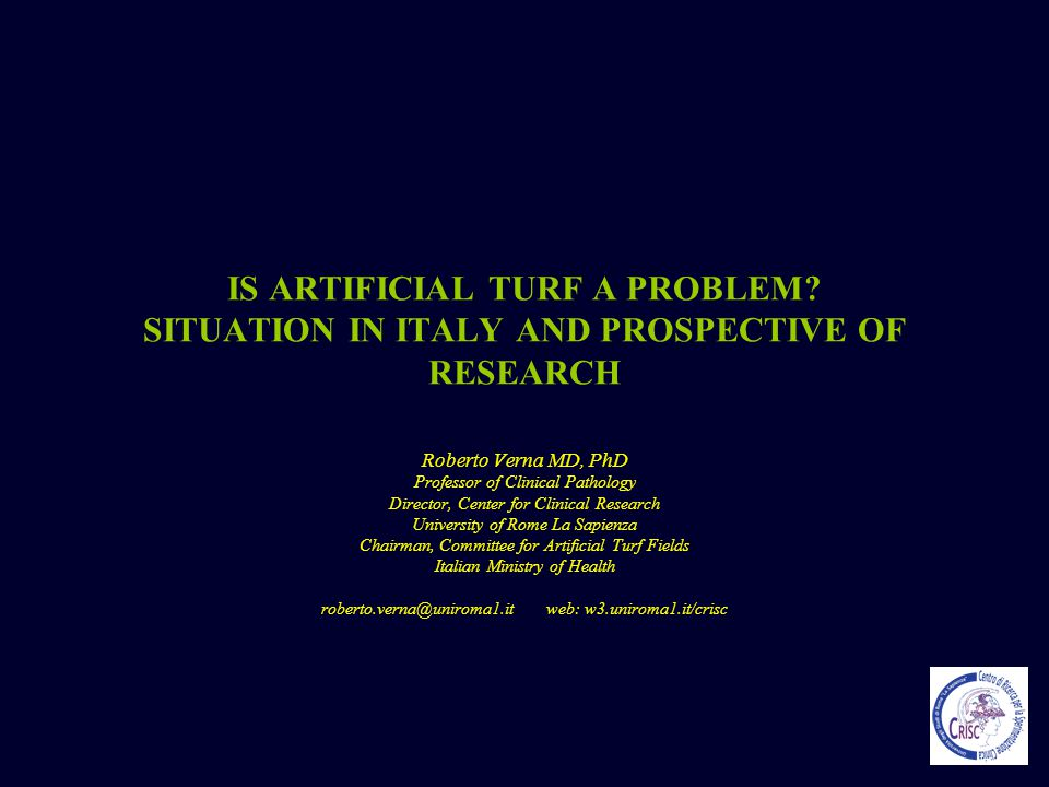 IS ARTIFICIAL TURF A PROBLEM? SITUATION IN ITALY AND PROSPECTIVE OF RESEARCH Roberto Verna MD, PhD Professor of Clinical Pathology Director, Center fo