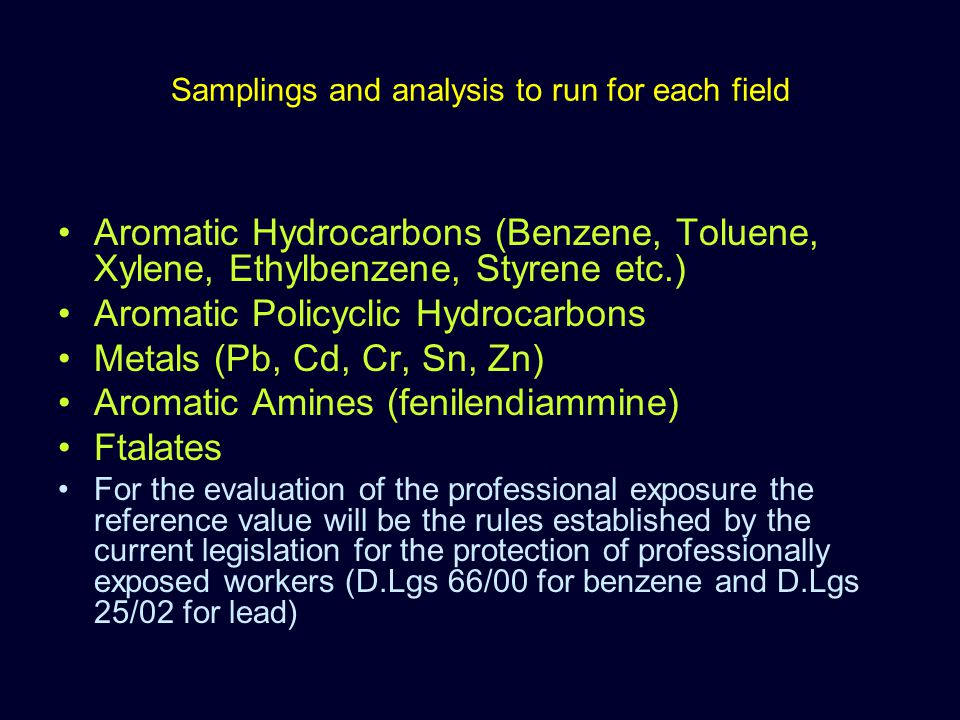 Samplings and analysis to run for each field Aromatic Hydrocarbons (Benzene, Toluene, Xylene, Ethylbenzene, Styrene etc.) Aromatic Policyclic Hydrocar