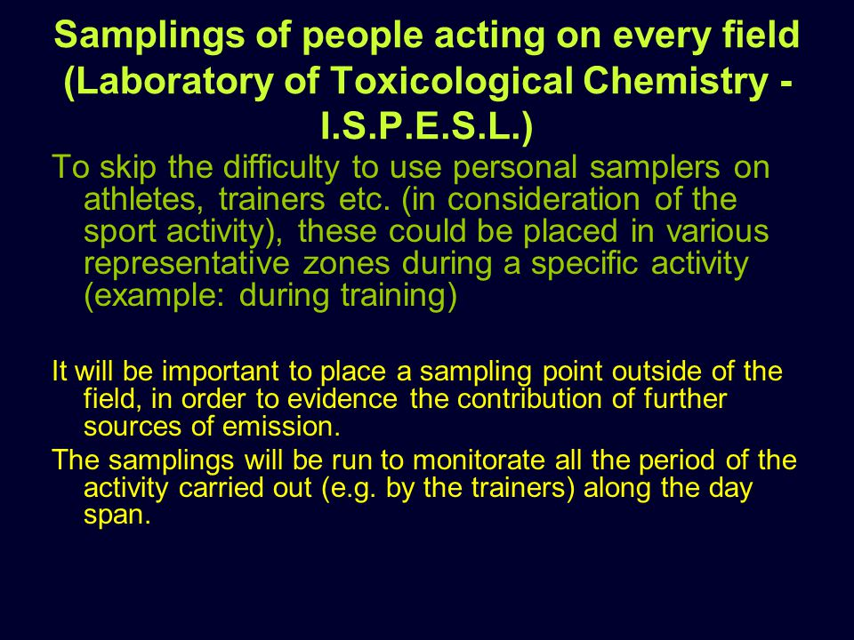 Samplings of people acting on every field (Laboratory of Toxicological Chemistry - I.S.P.E.S.L.) To skip the difficulty to use personal samplers on athletes, trainers etc.