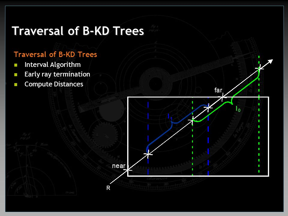 Traversal of B-KD Trees Interval Algorithm Early ray termination Compute Distances
