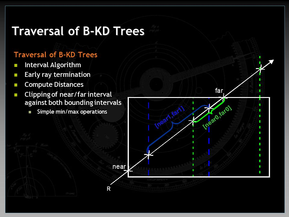Traversal of B-KD Trees Interval Algorithm Early ray termination Compute Distances Clipping of near/far interval against both bounding intervals Simpl