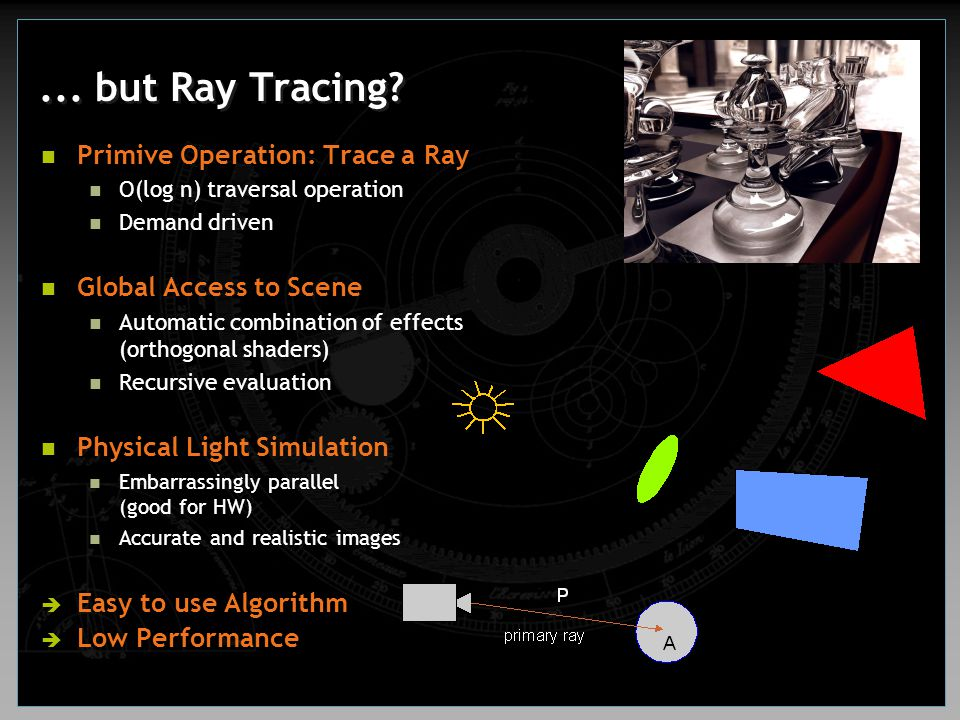Instruction Set of Shading Processor Ray traversal operation trace Conditional instructions (paired) if jmp label if call If return Dual issue (pairing) 3/1 and 2/2 arithmetic splitting Arithmetic + load Arithmetic + conditional jump, call, return Short vector instruction set mov, add, mul, mad, frac dph2, dp3, dph3, dp4 Input modifiers Swizzeling, negation, masking Multiply with power of 2 Special operations (modifiers) rcp, rsq, sat Fast 2D texture lookups texload, texload4x Read from and write to memory load, load4x, store