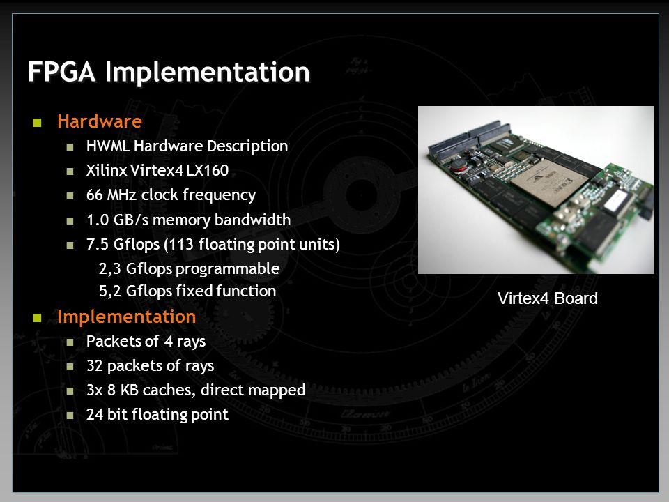 FPGA Implementation Hardware HWML Hardware Description Xilinx Virtex4 LX160 66 MHz clock frequency 1.0 GB/s memory bandwidth 7.5 Gflops (113 floating