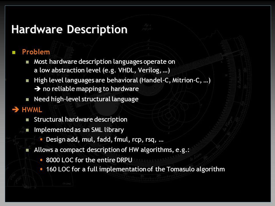 Hardware Description Problem Most hardware description languages operate on a low abstraction level (e.g. VHDL, Verilog, …) High level languages are b