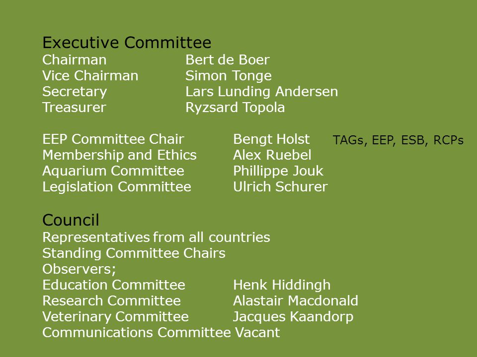 Executive Committee ChairmanBert de Boer Vice ChairmanSimon Tonge SecretaryLars Lunding Andersen TreasurerRyzsard Topola EEP Committee ChairBengt Holst Membership and EthicsAlex Ruebel Aquarium CommitteePhillippe Jouk Legislation CommitteeUlrich Schurer Council Representatives from all countries Standing Committee Chairs Observers; Education CommitteeHenk Hiddingh Research CommitteeAlastair Macdonald Veterinary CommitteeJacques Kaandorp Communications Committee Vacant TAGs, EEP, ESB, RCPs