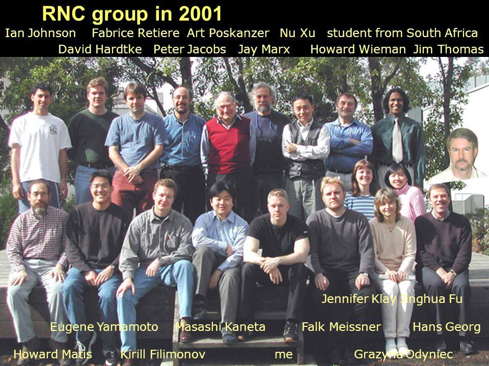RNC group in 2001 Ian Johnson Fabrice Retiere Art Poskanzer Nu Xu student from South Africa David Hardtke Peter Jacobs Jay Marx Howard Wieman Jim Thom