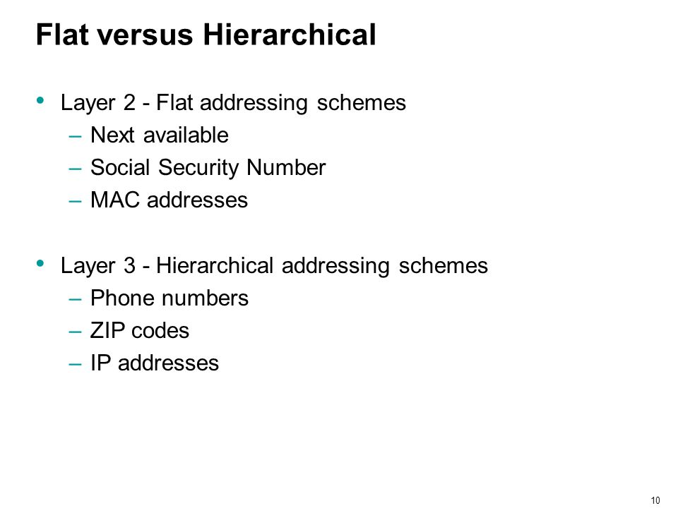 10 Flat versus Hierarchical Layer 2 - Flat addressing schemes –Next available –Social Security Number –MAC addresses Layer 3 - Hierarchical addressing