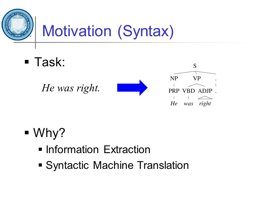 Motivation (Syntax)  Task: He was right.  Why?  Information Extraction  Syntactic Machine Translation