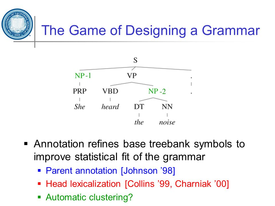 The Game of Designing a Grammar  Annotation refines base treebank symbols to improve statistical fit of the grammar  Parent annotation [Johnson '98]  Head lexicalization [Collins '99, Charniak '00]  Automatic clustering
