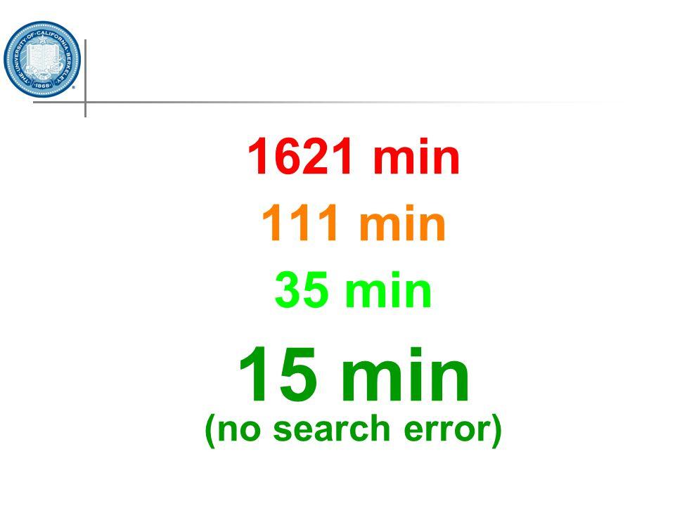 1621 min 111 min 35 min 15 min (no search error)