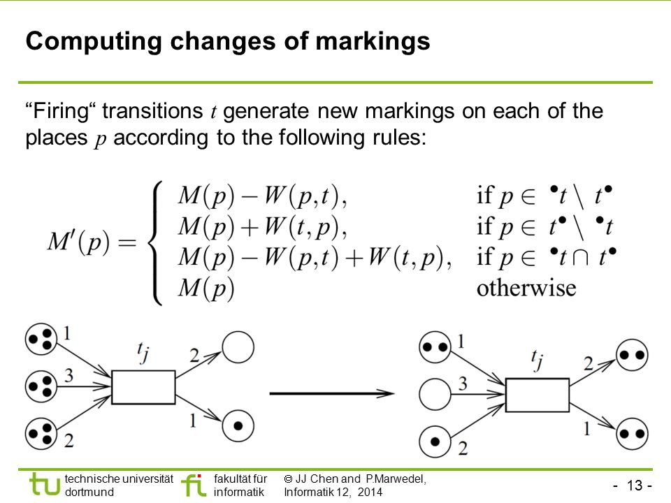 - 13 - technische universität dortmund fakultät für informatik  JJ Chen and P.Marwedel, Informatik 12, 2014 Computing changes of markings Firing transitions t generate new markings on each of the places p according to the following rules: