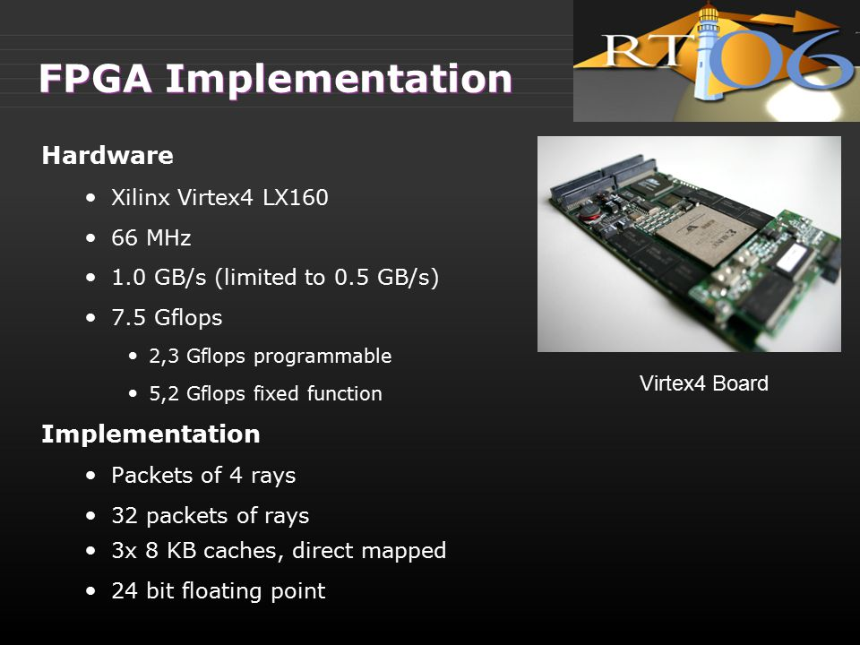 FPGA Implementation Hardware Xilinx Virtex4 LX160 66 MHz 1.0 GB/s (limited to 0.5 GB/s) 7.5 Gflops 2,3 Gflops programmable 5,2 Gflops fixed function I