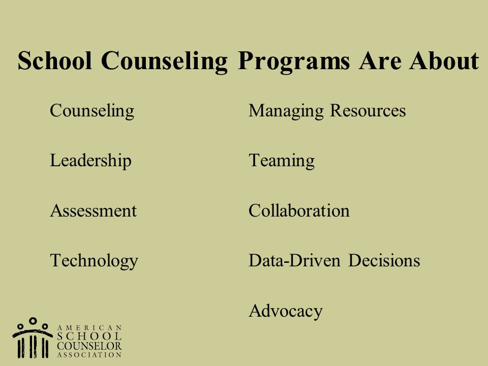 School Counseling Programs Are About CounselingManaging Resources LeadershipTeaming AssessmentCollaboration TechnologyData-Driven Decisions Advocacy