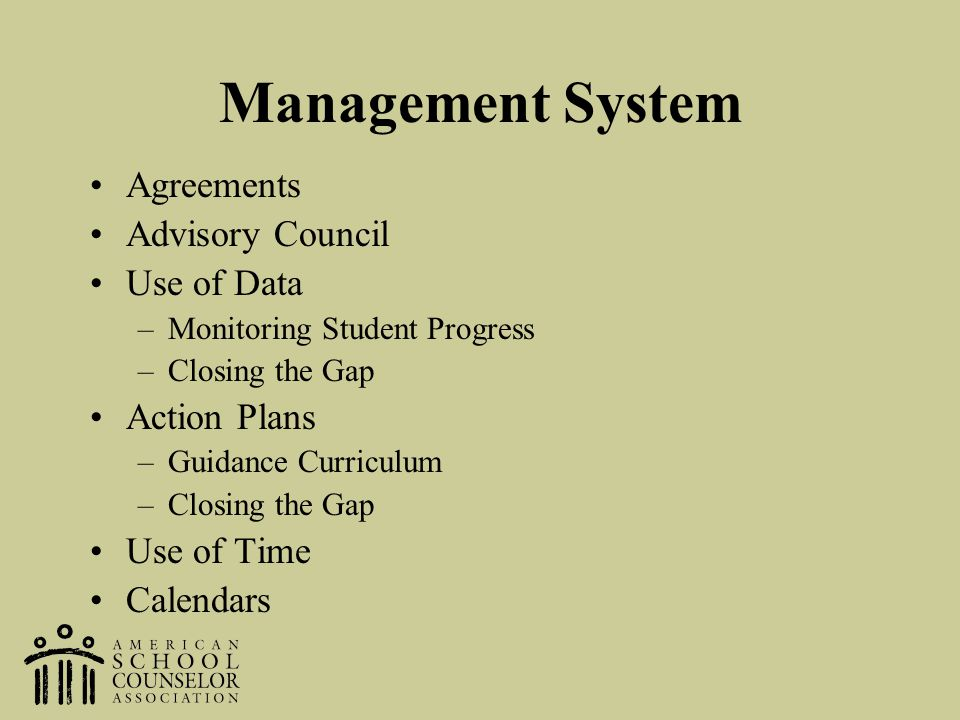 Management System Agreements Advisory Council Use of Data –Monitoring Student Progress –Closing the Gap Action Plans –Guidance Curriculum –Closing the