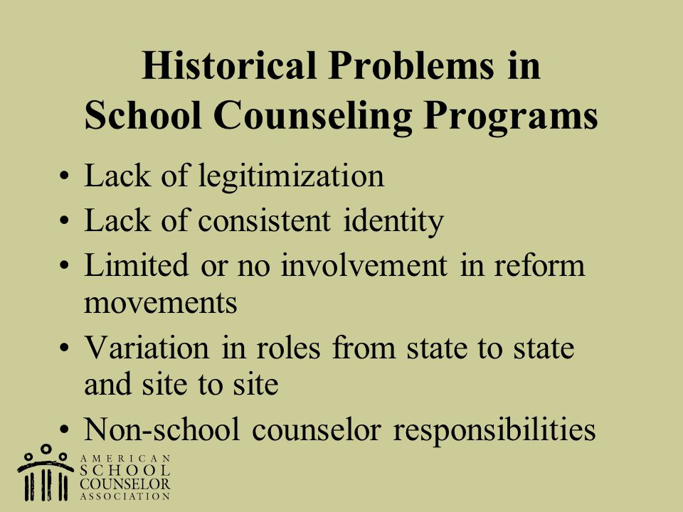 Historical Problems in School Counseling Programs Lack of legitimization Lack of consistent identity Limited or no involvement in reform movements Var
