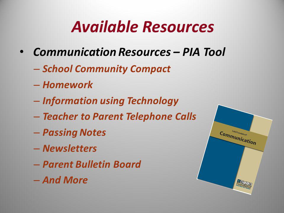 Communication Resources – PIA Tool – School Community Compact – Homework – Information using Technology – Teacher to Parent Telephone Calls – Passing