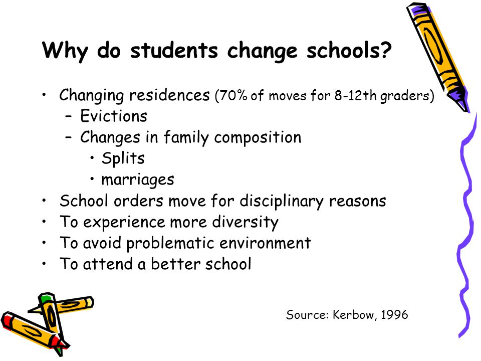 Why do students change schools? Changing residences (70% of moves for 8-12th graders) –Evictions –Changes in family composition Splits marriages Schoo