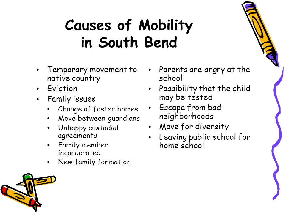 Causes of Mobility in South Bend Temporary movement to native country Eviction Family issues Change of foster homes Move between guardians Unhappy cus
