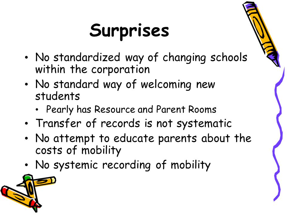 Surprises No standardized way of changing schools within the corporation No standard way of welcoming new students Pearly has Resource and Parent Room