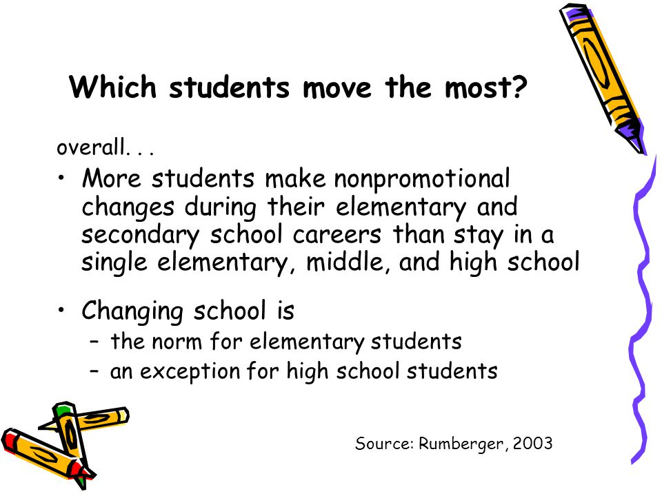 Which students move the most? overall... More students make nonpromotional changes during their elementary and secondary school careers than stay in a