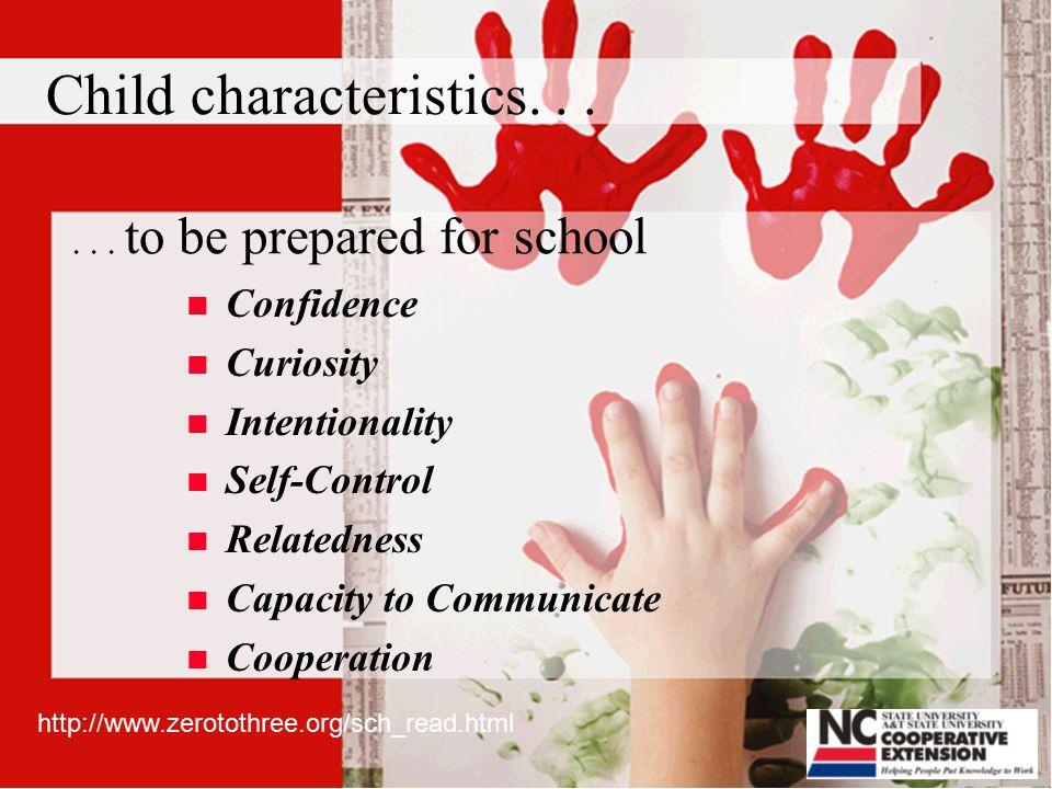 Child characteristics...