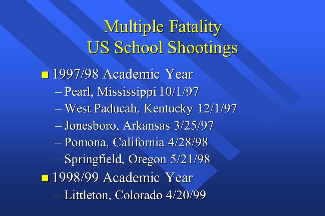 Multiple Fatality US School Shootings n 1997/98 Academic Year –Pearl, Mississippi 10/1/97 –West Paducah, Kentucky 12/1/97 –Jonesboro, Arkansas 3/25/97 –Pomona, California 4/28/98 –Springfield, Oregon 5/21/98 n 1998/99 Academic Year –Littleton, Colorado 4/20/99