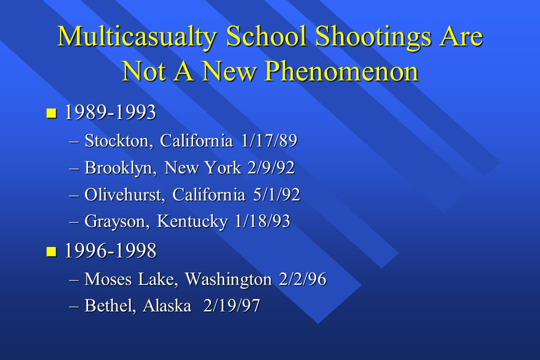 Multicasualty School Shootings Are Not A New Phenomenon n 1989-1993 –Stockton, California 1/17/89 –Brooklyn, New York 2/9/92 –Olivehurst, California 5/1/92 –Grayson, Kentucky 1/18/93 n 1996-1998 –Moses Lake, Washington 2/2/96 –Bethel, Alaska 2/19/97