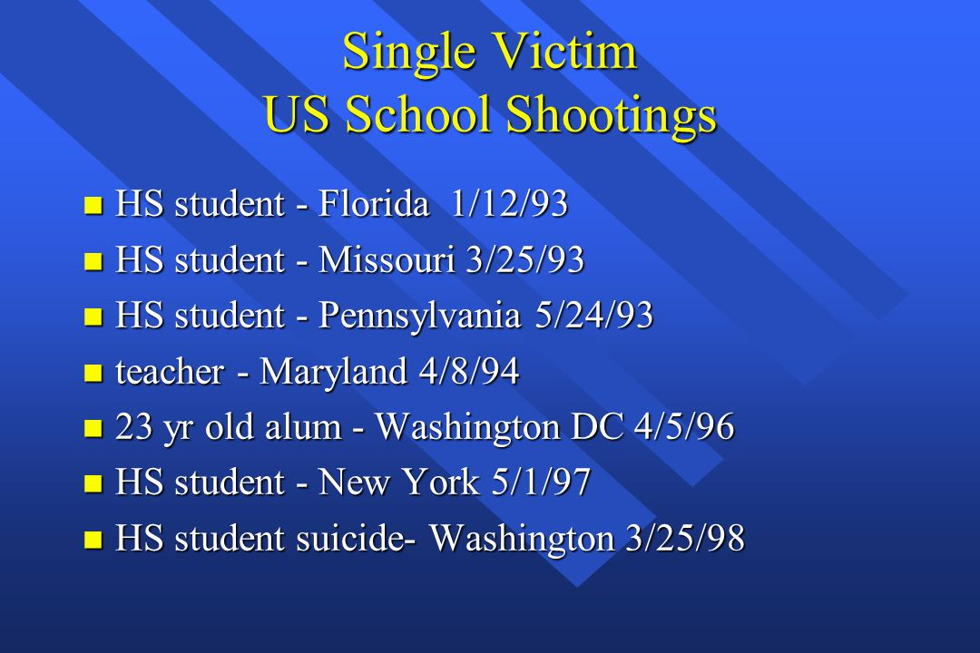 Single Victim US School Shootings n HS student - Florida 1/12/93 n HS student - Missouri 3/25/93 n HS student - Pennsylvania 5/24/93 n teacher - Maryland 4/8/94 n 23 yr old alum - Washington DC 4/5/96 n HS student - New York 5/1/97 n HS student suicide- Washington 3/25/98