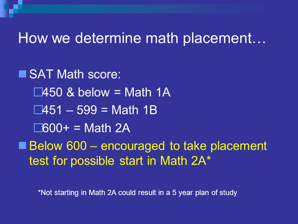 How we determine math placement… SAT Math score:  450 & below = Math 1A  451 – 599 = Math 1B  600+ = Math 2A Below 600 – encouraged to take placement test for possible start in Math 2A* *Not starting in Math 2A could result in a 5 year plan of study