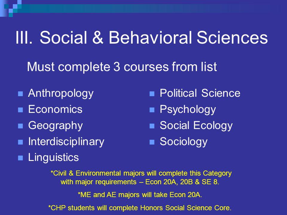 III. Social & Behavioral Sciences Anthropology Economics Geography Interdisciplinary Linguistics Political Science Psychology Social Ecology Sociology
