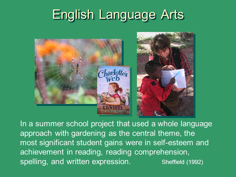 English Language Arts In a summer school project that used a whole language approach with gardening as the central theme, the most significant student