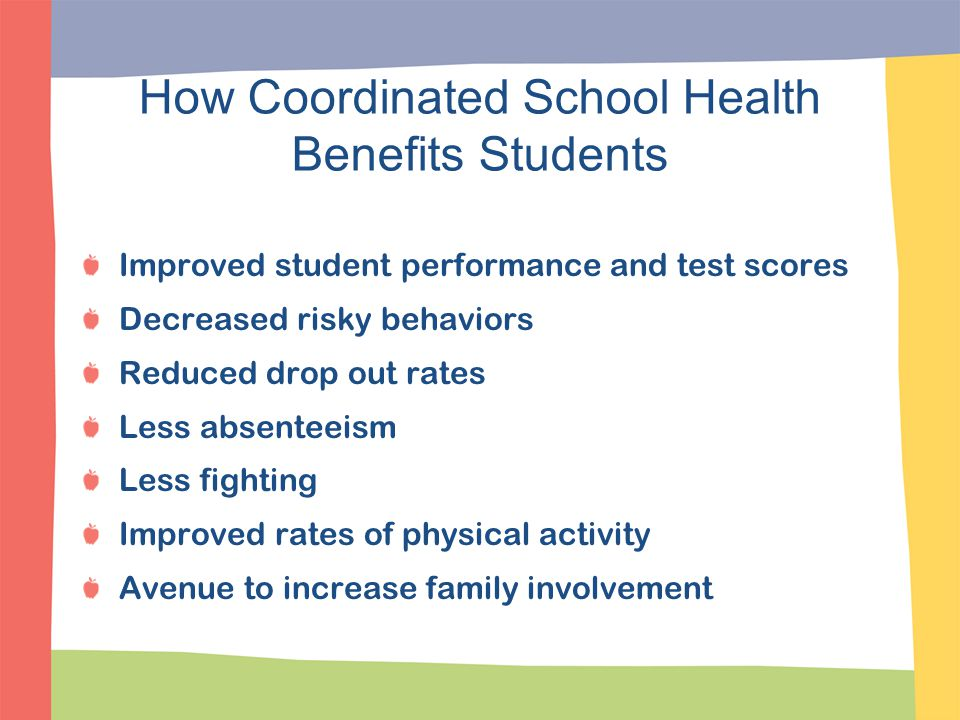 How Coordinated School Health Benefits Students Improved student performance and test scores Decreased risky behaviors Reduced drop out rates Less abs