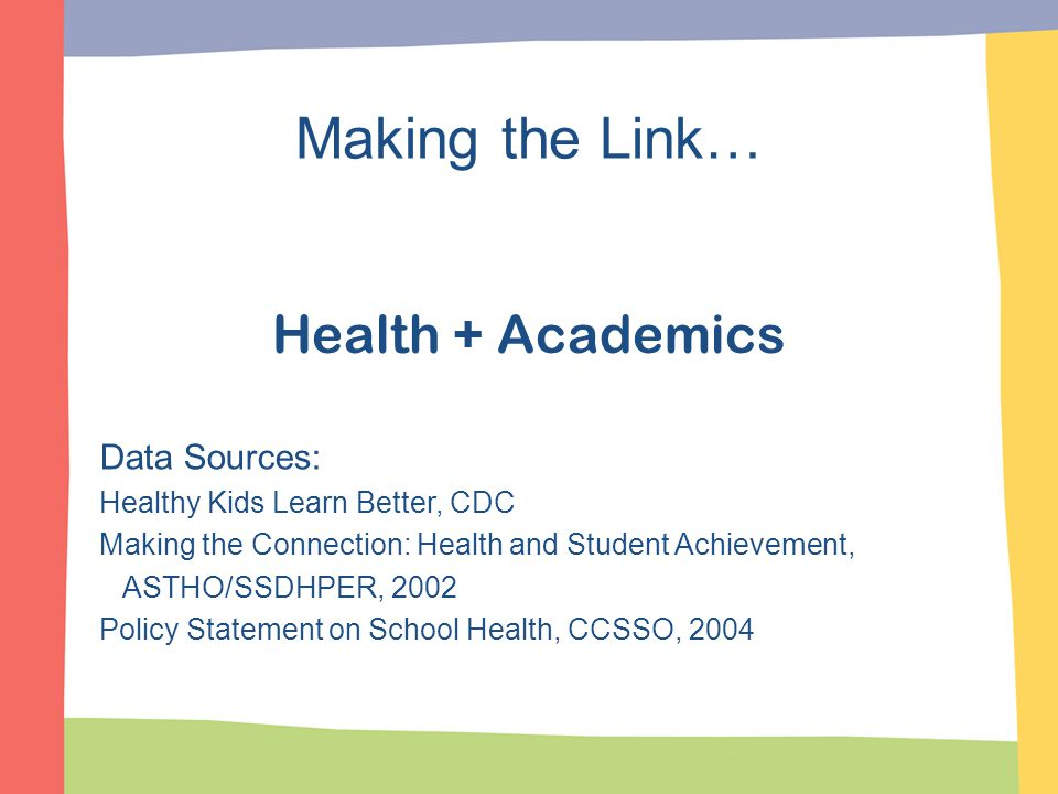Data Sources: Healthy Kids Learn Better, CDC Making the Connection: Health and Student Achievement, ASTHO/SSDHPER, 2002 Policy Statement on School Hea