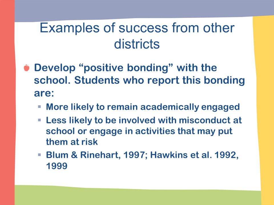 "Examples of success from other districts Develop ""positive bonding"" with the school. Students who report this bonding are:  More likely to remain aca"