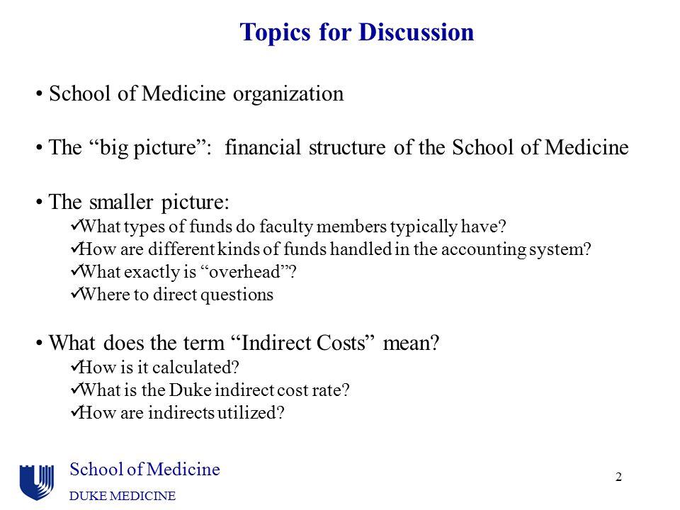 "School of Medicine DUKE MEDICINE 2 Topics for Discussion School of Medicine organization The ""big picture"": financial structure of the School of Medic"