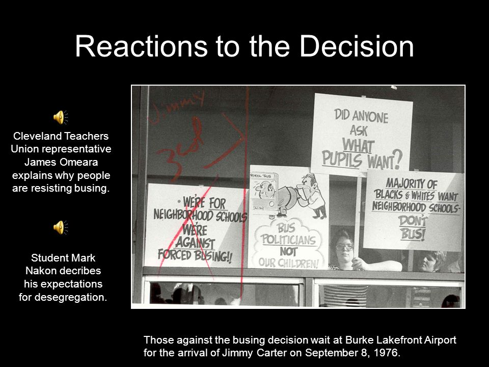 Reactions to the Decision Those against the busing decision wait at Burke Lakefront Airport for the arrival of Jimmy Carter on September 8, 1976.