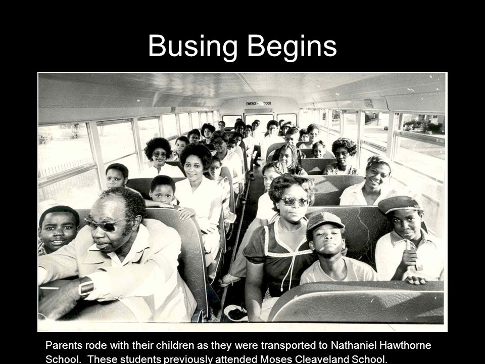 Busing Begins Parents rode with their children as they were transported to Nathaniel Hawthorne School.