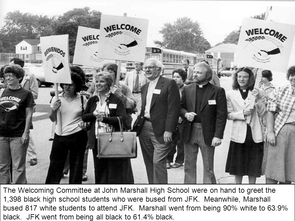 The Welcoming Committee at John Marshall High School were on hand to greet the 1,398 black high school students who were bused from JFK.