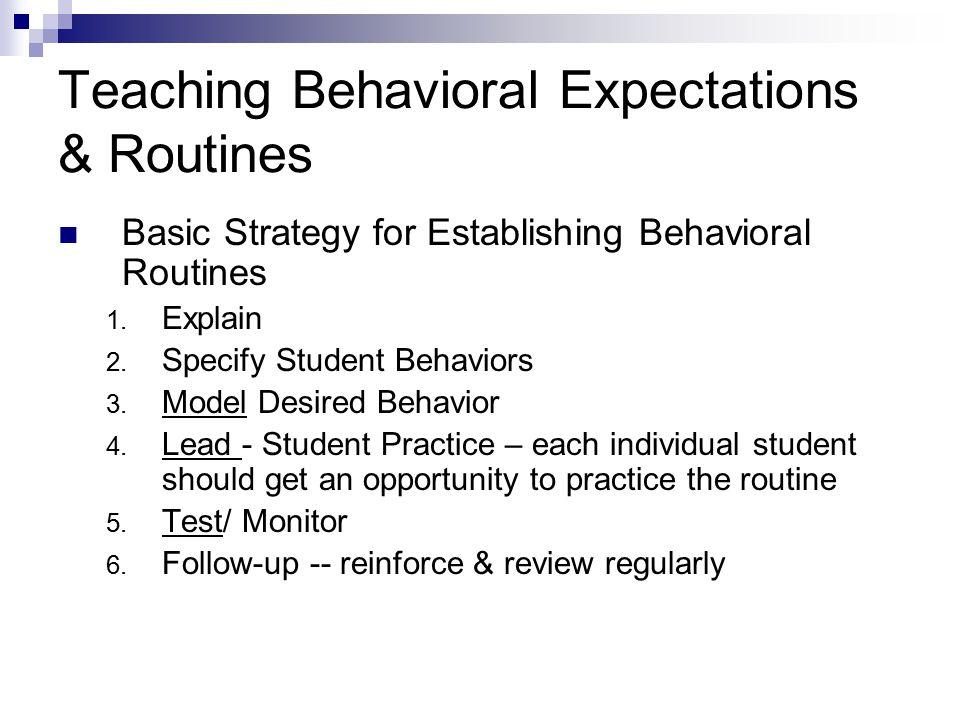Basic Strategy for Establishing Behavioral Routines 1.